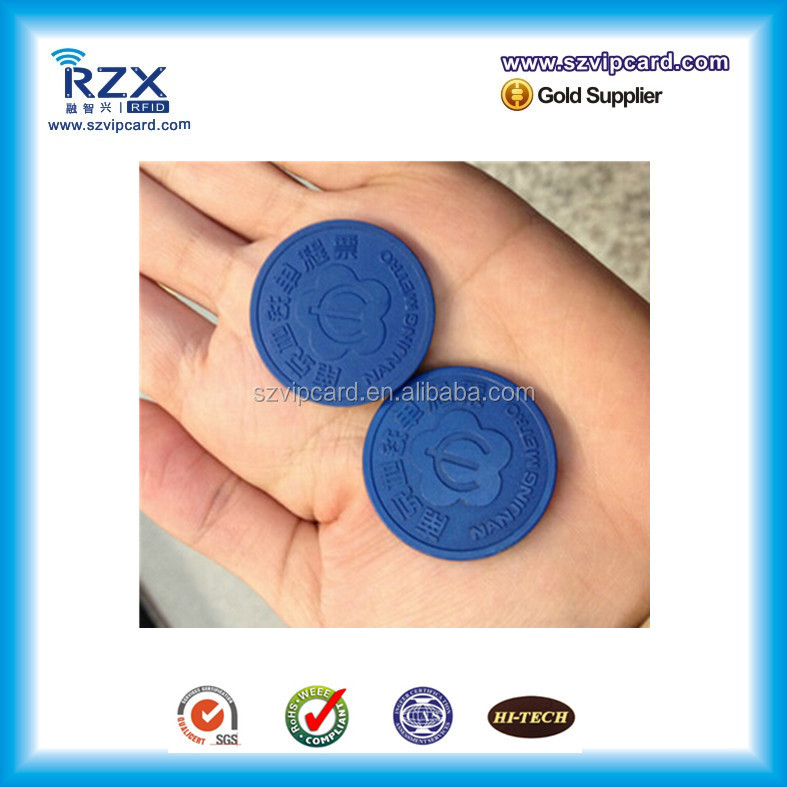 Access control Dia22/ 26mm coin rfid tag subway token for bus/ metro