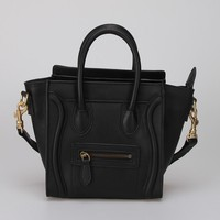 Classic High Quality Genuine Cowhide Leather Black Tote Bulk Wholesale Designer Smile Face Purse
