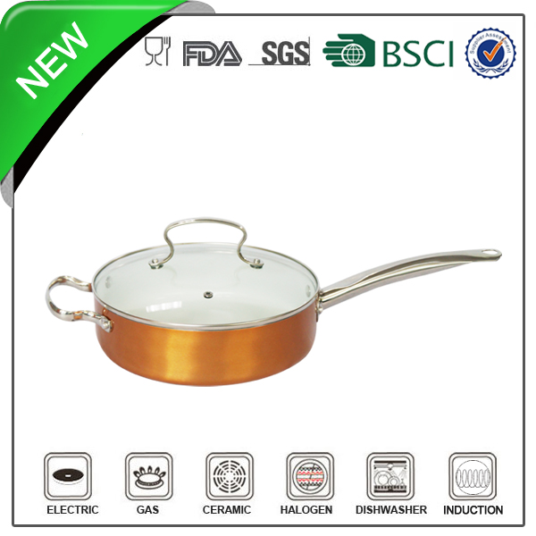 White ceramic two handle saucepan with s.s. handle