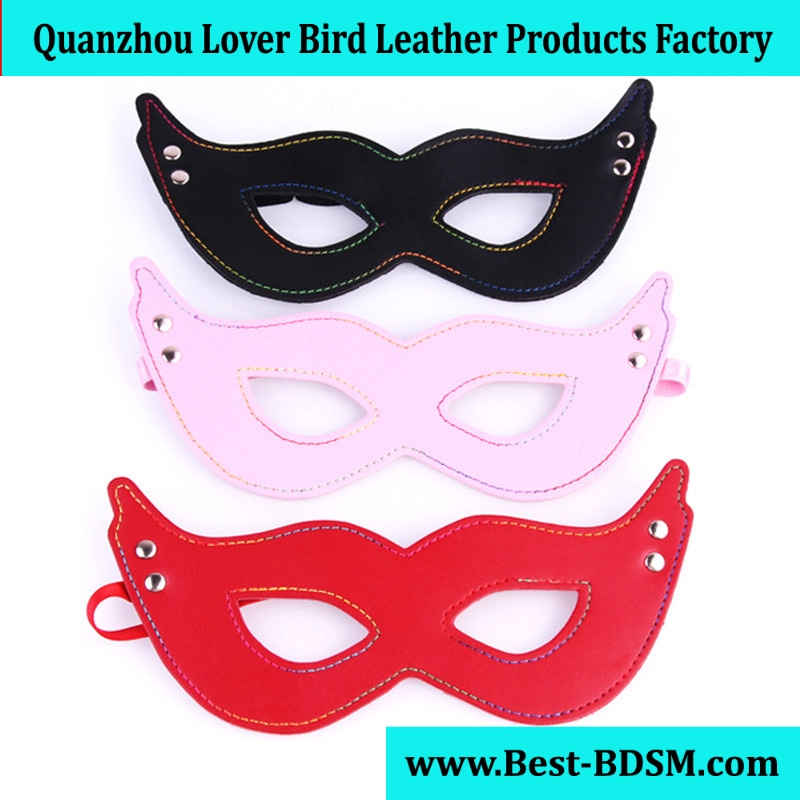 MOON BUNNYsource Studed Leather Mask Sex Costume Play Rainbow Routing Eyes Patch Black Pink Red LGBT Pride Sex Party Outfit Sex