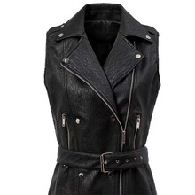 Latest Design Fashionable Preppy Style Sex In A Long Leather Coat For Youth