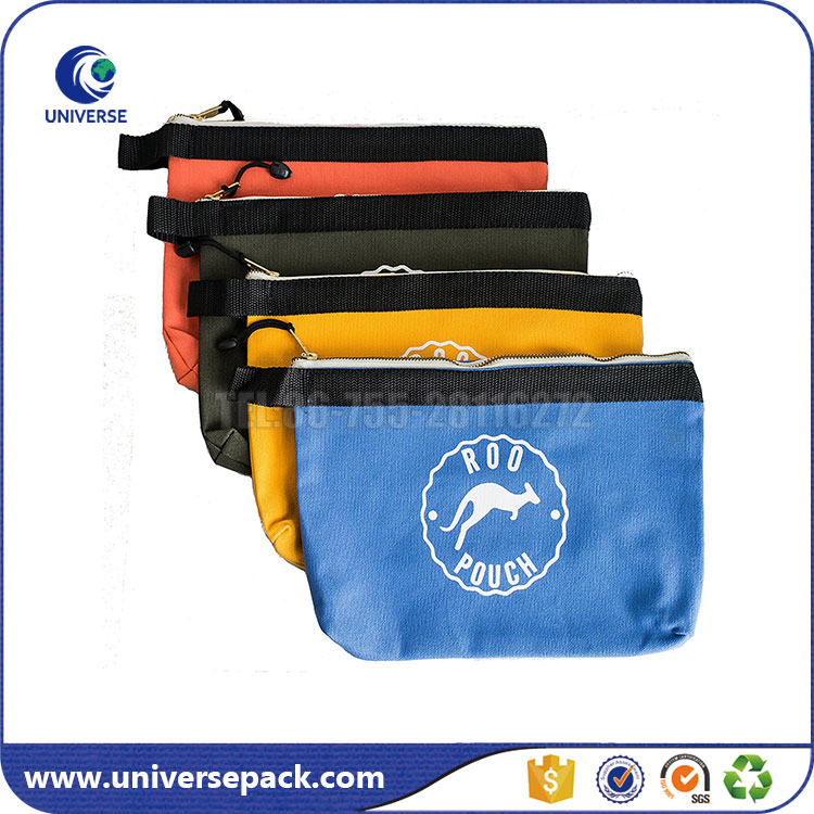 Portable hanging small canvas tool pouch with zipper