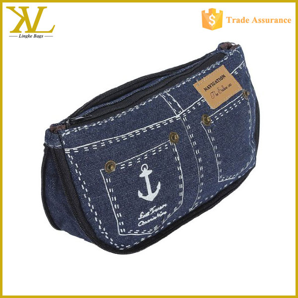 New design Unique Dots Pattern & jeans shape Double Layer Denim Canvas Cosmetic Bag