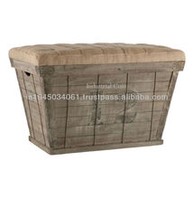 French country white lettering long storage crate burlap ottoman furniture