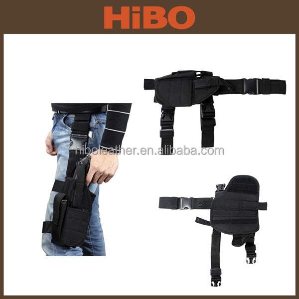 Police military tactical nylon drop leg holster with mag pouch