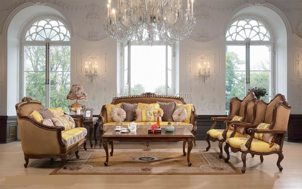French Style Furniture Set Antique Fabric Sofa Set For Living Room Classic