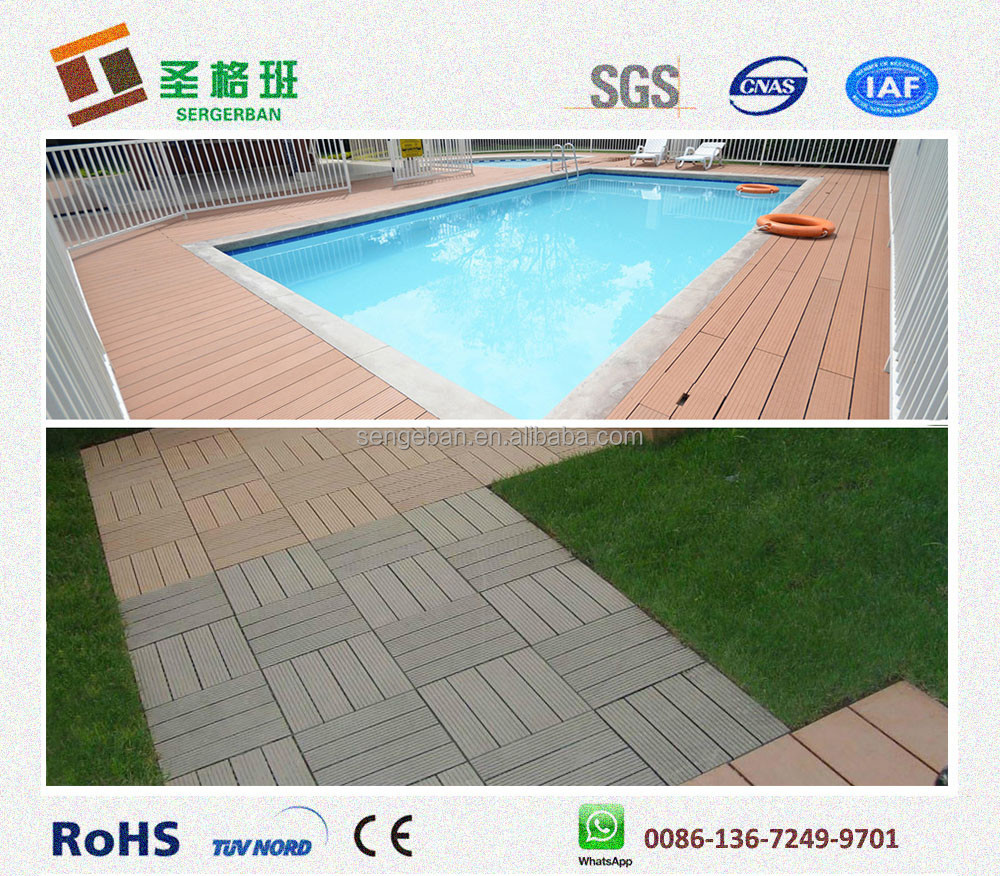 Garden swimming pool decoration diy decking 300 300mm for Swimming pool flooring materials