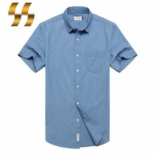 men 2017 hot sale fashion formal shirt solid color blue casual 100% cotton Short Sleeves t-shirt