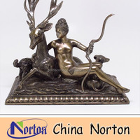 famous bronze naked woman and animal statue NTBH-S0512S