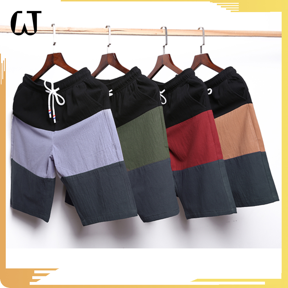 F819 New Products 2017 high quality Fashion loose Cotton Elastic Beach Short pants colors matching machine cheap Wholesale lots