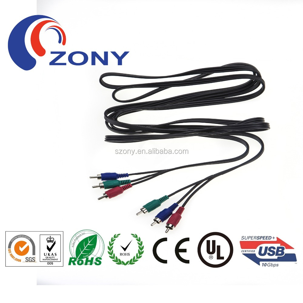 3RCA to 3RCA 3m black brass cable rca from shenzhen zongyi