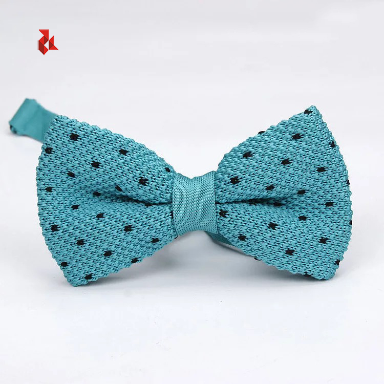 Cheap Knit Bowtie Blue Polka Dots Pre-tied Knitted Bow Ties