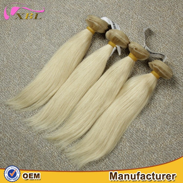 Premium quality cheap price straight blonde Brazilian hair weft