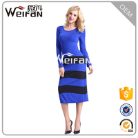 Hot Sales OEM Type Fashion Blue Long Sleeve Casual Loose Fit Summer Lady Maxi Dress
