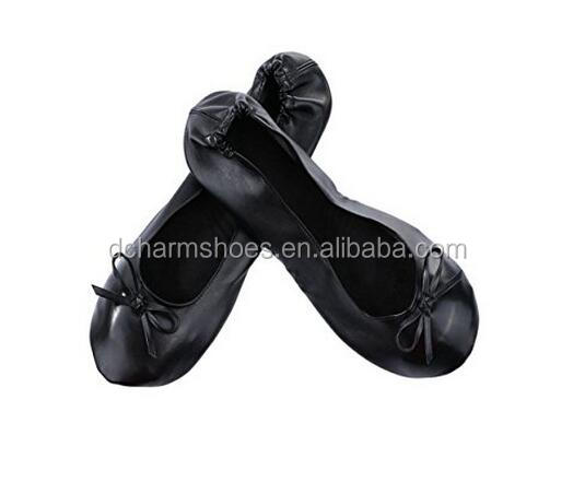 Fashion ladies single foldable shoes for party dance easy to carry match bag