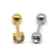 Non-plated and gold plated tongue piercing jewelry surgical steel