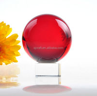 Light Natural Red Crystal Ball Festival Decorative Ball With Glass Base Support