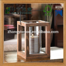 Trade assurance fashionable garden home decoration hanging wooden candle lantern with glass cover