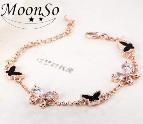2016 New design Stainless Steel Butterfly Charm Bracelet Rose Gold Adjustable Bangle Jewelry for women MoonSo AS633