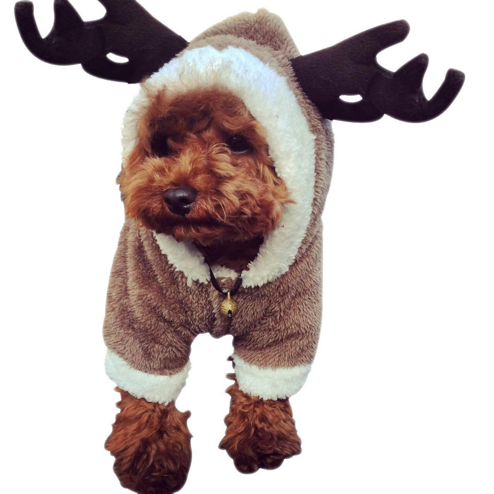 2017 Elk pet clothes teddy Christmas dog clothes pet change into a thick four-footed autumn/winter clothing