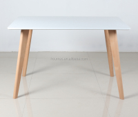 MDF top solid leg dining table