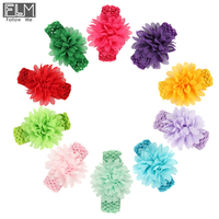Candy Colors Newborn Big Chiffon Flower Headbands,Rosette Baby Girls Crochet Head Band,Elastic Hair Band WOH-012