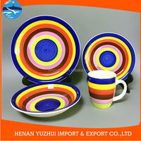 Colorful rainbow ceramic top choice dinnerware with colorbox