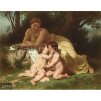 Handmade William Adolphe Bouguereau portrait oil painting, Young Woman Contemplating Two Embracing Children