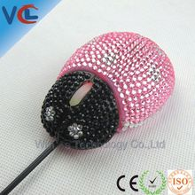 Wholesale VCL-32 animal shaped usb wired crystal decorate pc mouse