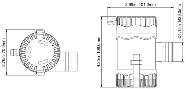 12V DC 1100 gph non-automatic submersible bilge pumps Water Pump