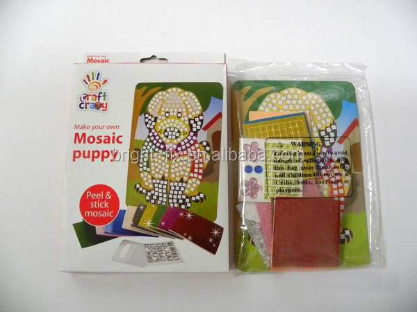 China factory kids educational toys/fashion EVA foam stickers/peel &stick mosaic puppy design