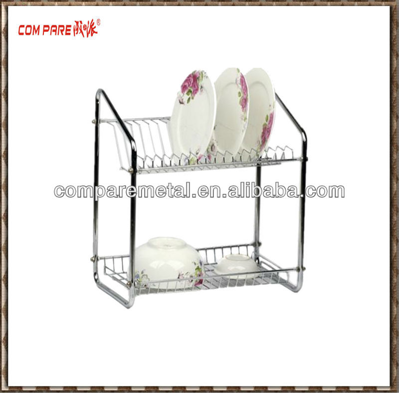 stainless steel 2 tier dish drainer display rack with tray