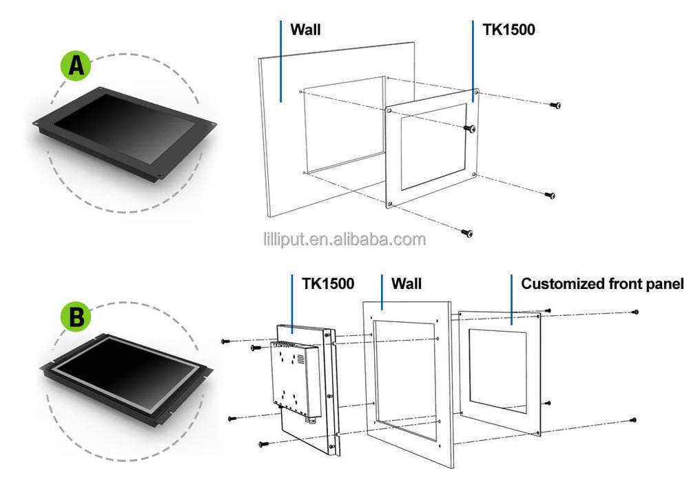 "LILLIPUT new 15"" Industrial Touch Monitor Open frame design for optional."