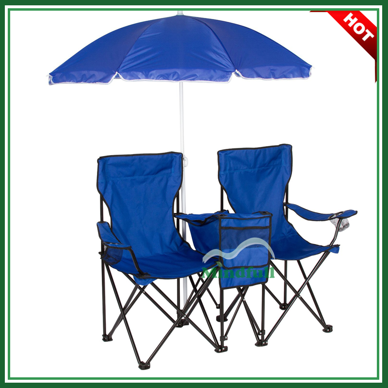 Double Beach Folding Chair With Umbrella and Cooler Bag