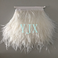 china supplier wholesale fringe trim white ostrich feather trim for evening dresses