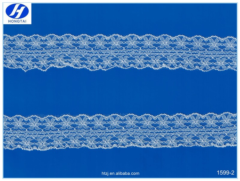High Quality Knitting African Dubai Nylon Both Sided Lace Ribbon Trimming Wholesale For Bra and Sleeves