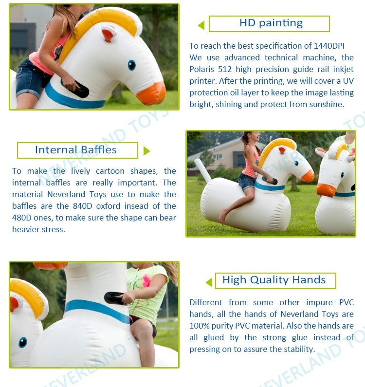 NEVERLAND TOYS Funning Games Inflatable Toys Inflatable Pony Hob Racing Inflatable Hopper Horse for Sale