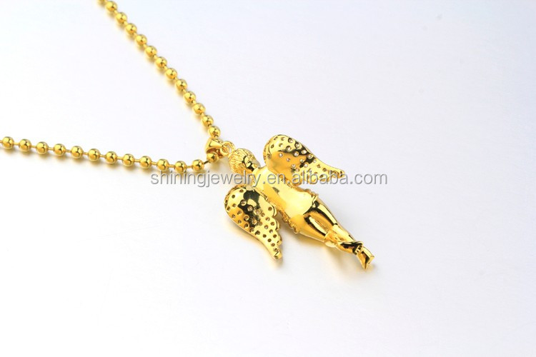 Mini Micro Lab Diamond 18k Yellow Gold Lab Diamond Angel Piece Necklace