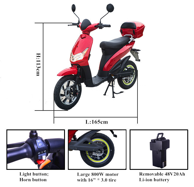 48V Swift lithium battery electric scooter with 500W to 800W motor