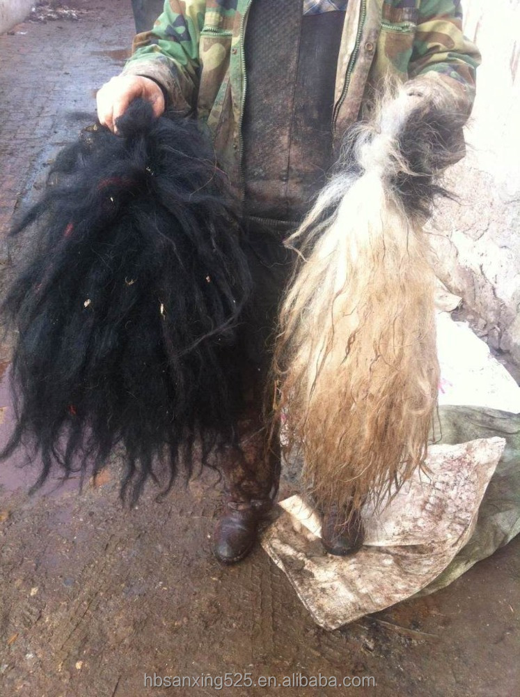 yak tail with skin, natural white/black color