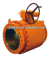 API 6D gear operated type ball valve trunnion ball design