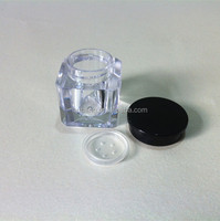 Hot sale square octagonal 3 ml PS plastic empty cosmetic containers with round lid
