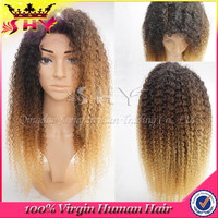SHY hair wholesale three tone color human ombre full lace curly wig for black women