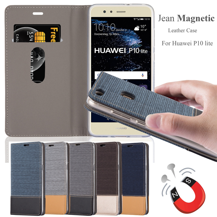 HOT jeans magnetic leather case for Huawei P10 Lite, flip leather stand case for HUAWEI P10 LITE with jeans pattern