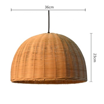 USA diy dome half moon yellow rattan bedroom decoration ceiling lampshade
