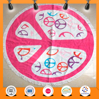 China wholesale super cheap 100% Cotton Reactive Printed round Beach Towels