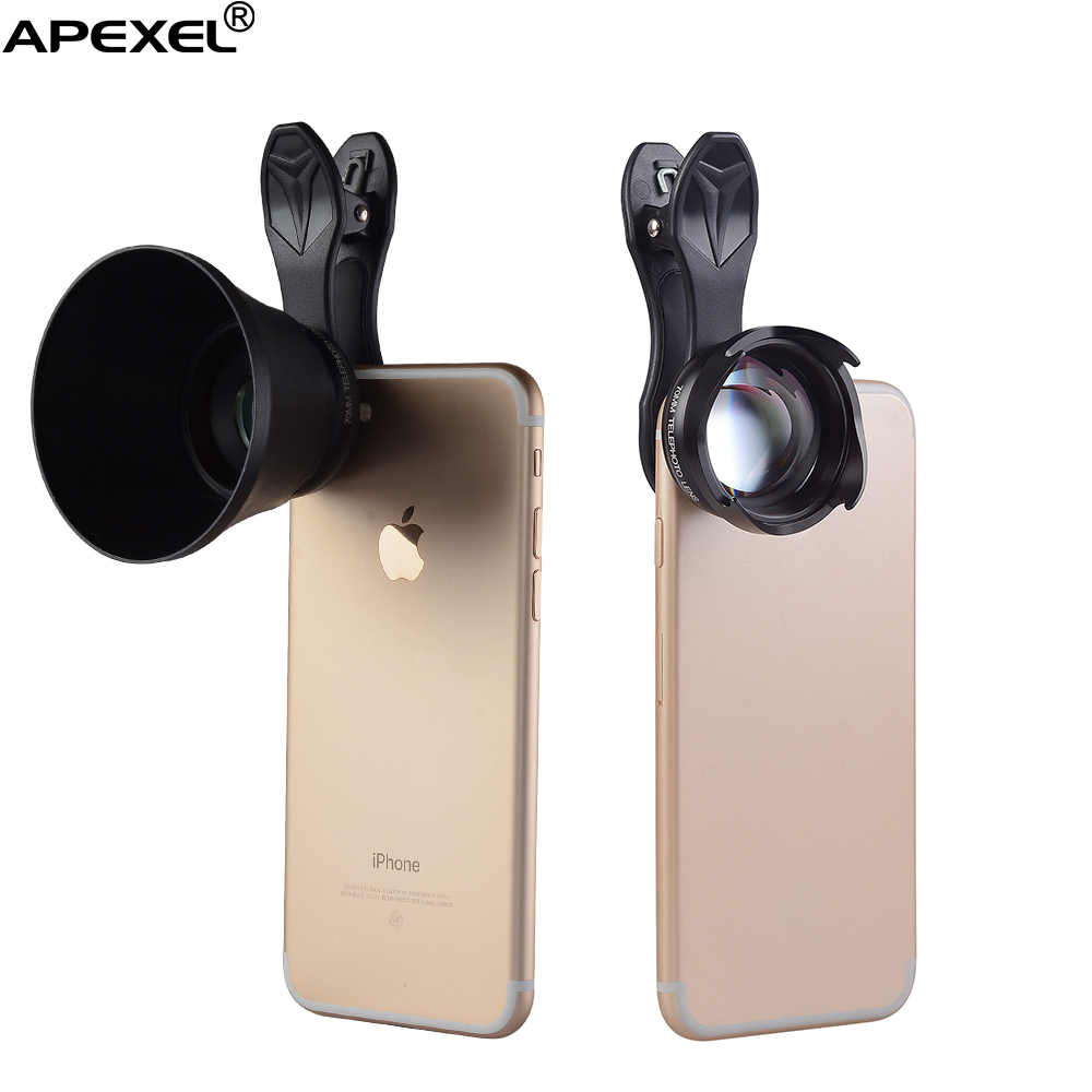 Apexel 2.5x mobile phone zoom lens,selfie portrait lens,70mm HD smartphone telephoto lens for iPhone 7 7 plus Samsung camera