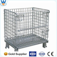 4 Layers Folding Steel Wire Mesh Cage Container,Steel cage container for fruit storage