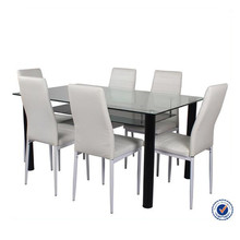 four legs double layer glass modern dining room funiture tables
