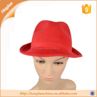 Women Or Men Faux Woolen Plain Red Felt Fedora